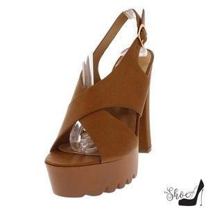 The Shoe Loft Shoes - Simi Cognac Lug Sole Slingback Heels